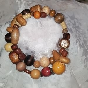 Artisan Made Wooden Beaded Self Adjustable Bracel